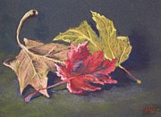 Yellow Leaves Pastels Prints - Fall Trio Print by Marlene Kingman