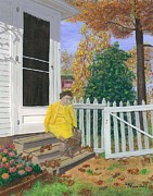 Back Yard Paintings - Fall Visit by Lori  Theim-Busch