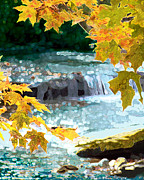 Fall Scenes Digital Art - Fall Waters - 2009 by Tam Ishmael - Eizman