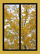 Fallen Leaf Mixed Media Posters - Fall Wind Diptych Poster by Steve Ohlsen