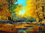 Stonewall Painting Metal Prints - Fall Woods Stream  Metal Print by Laura Tasheiko