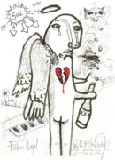 Art Brut Drawings - Fallen Angel by Robert Wolverton Jr