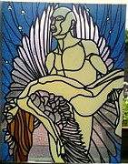 Archangels Glass Art - Fallen angel. by Robin Jeffcoate