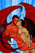 Gay Digital Art Originals - Fallen Angels 3 Prohibido by David Cantero