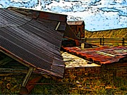 Tin Roof Drawings Framed Prints - Fallen building  Framed Print by Howard Perry