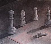 Game Piece Posters - Fallen Chessman Poster by Sandy Clift