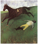 Jockey Paintings - Fallen Jockey by Edgar Degas