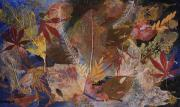 Fallen Leaf Mixed Media Posters - FALLEN TREASURES a collage of dried leaves Poster by Phil Albone