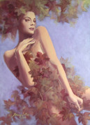 Autumn Leaves Painting Acrylic Prints - Fall...in love... Acrylic Print by Dorina  Costras