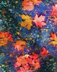 Marilyn Sholin Prints - Falling Blue Leave Print by Marilyn Sholin