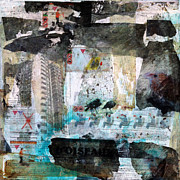 Acrylic Collage Posters - Falling from Balconies Poster by Paul OBrien