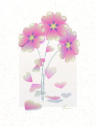 Pink Flower Prints Mixed Media Prints - Falling Hearts Print by Elorian Landers
