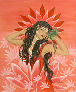 Metaphysical Paintings - Falling in Love by Radha Flora Cloud