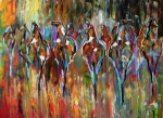 Herd Of Horses Paintings - Falling into Winter Herd by Laurie Pace