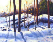 Winterscape Painting Originals - Falling into Winters Grip by Diane Daigle