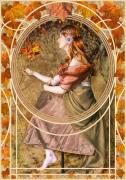 Victorian Prints - Falling Leaves Print by John Edwards