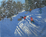 Ski Painting Prints - Falling off the Sledge Print by Andrew Macara