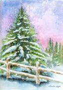 Winter Scene Paintings - Falling Snowflakes by Arline Wagner