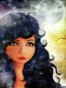 Blue Eyed Girl Prints - Falling Stars Print by Jessica Grundy