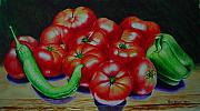 Hot Peppers Painting Originals - Falling Tomato by Ron Sylvia