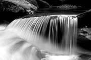 Great Smokey Mountains Prints - Falling Water Black and White Print by Rich Franco