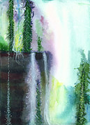 Mist Painting Posters - Falling waters 1 Poster by Anil Nene