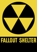 Cold War Framed Prints - Fallout Shelter Sign Framed Print by War Is Hell Store