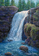 Water Pastels Posters - Falls at Twilight  Poster by Tanja Ware
