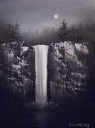 Falls Painting Originals - Falls By Moonlight by Crispin  Delgado
