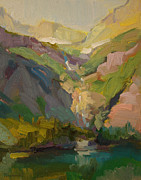 Glacier National Park Paintings - Falls from Grinnell Glacier by Kathryn Townsend