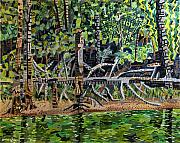 Falls Paintings - Falls Lake in July by Micah Mullen
