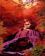 Waterfalls Painting Metal Prints - Falls of Fire Metal Print by David Lloyd Glover