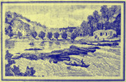 Niagra Falls Digital Art - Falls of the Schuylkill and Fort St Davids 1794 by Bill Cannon