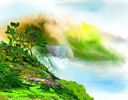 Digital Paintings Landscapes - Falls Overlook by David Lane