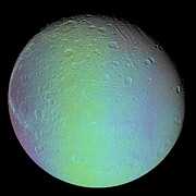 Impact Art - False Color View Of Saturns Moon Dione by Stocktrek Images
