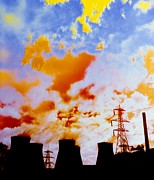 False Power Framed Prints - False-colour Photograph Of Ferrybridge. Framed Print by Dr Jeremy Burgess