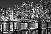 Cambie Bridge Framed Prints - False Creek BW Framed Print by David  Naman