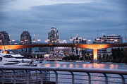 Cambie Bridge Framed Prints - False Creek Evening Framed Print by Shari Whittaker