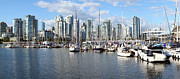 Urbanization Framed Prints - False Creek marina panorama the Vancouver BC skyline Canada. Framed Print by Gino Rigucci