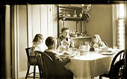 Home Plate Framed Prints - Family at Dinner Framed Print by Jan Faul