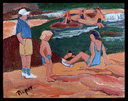 Slide Painting Prints - Family at Slide Rock Park Print by Betty Pieper