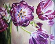 Purple Tulip Paintings - Family by Barbara Eberhart