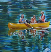 Canoe Painting Posters - Family Canoe Trip from Spring 1 Poster by Jan Swaren