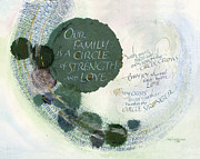 Green Prints - Family Circle Print by Judy Dodds