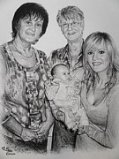 Graphite Drawings Drawings Framed Prints - Family Commissions Framed Print by Andrew Read