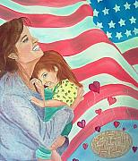 Patriotic Paintings - Family Country and Apple Pie by Kathern Welsh