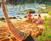 Puerto Rico Painting Posters - Family Day at Jobos Beach Poster by Milagros Palmieri
