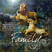 Lions Digital Art Posters - Family Poster by Evie Cook