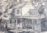 Cabin Window Drawings Prints - Family Farm House Print by Bill Joseph  Markowski