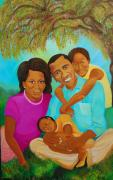 African Art Portrait Paintings - Family First by Kenji Tanner